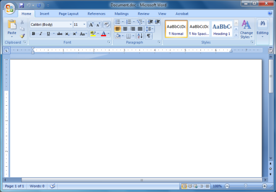 A blank Word document